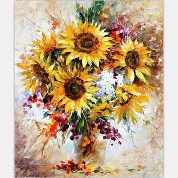 2017 New Frameless DIY Oil Painting Sunflower vase Picture Painting By Numbers  Digital Canvas Painting Wall Art