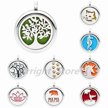 Tree of life lovely cat footprint Hummingbird 25mm diffuser Perfume essential oil locket pendant necklace jewelry 1 pad randomly