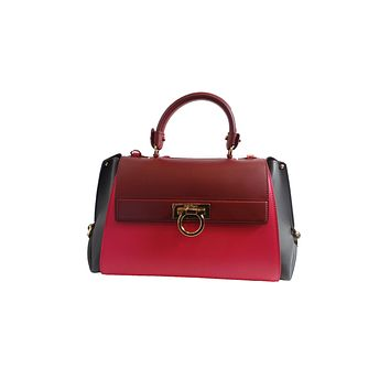 Ferragamo Sofia Calf Skin Frambiose Fumee Pink and Red Medium F606/05