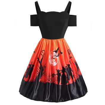 Women Halloween Party Dress 2018 Vintage Pumpkin Print 50s 60s Dresses Sexy Off Shoulder Strap Piecing Rockabilly Pinup Dresses