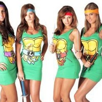 Teenage Mutant Ninja Turtles Dress TMNT Michelangelo Orange Tank Small