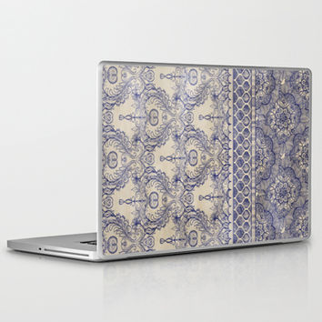 Vintage Wallpaper - hand drawn patterns in navy blue & cream Laptop & iPad Skin by micklyn