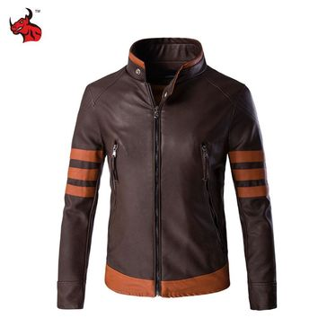 Trendy Motorcycle Jackets Men Vintage Retro PU Leather Jacket Punk Windproof Biker Classical Faux Leather Slim Moto Jacket AT_94_13