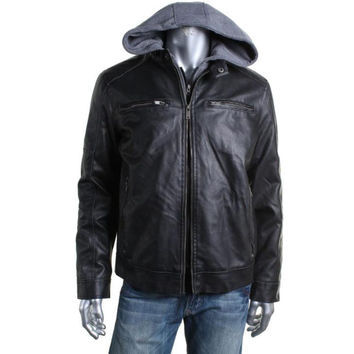 Guess Mens Faux Leather Long Sleeves Motorcycle Jacket