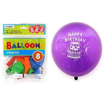 """12 in. """"""""Happy Birthday"""""""" Printed Balloons Case Pack 36"""