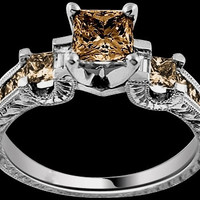 2.10 ct. Champagne brown princess diamonds ring 3 stone style