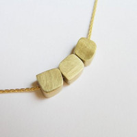 Solid Gold Necklace - Delicate Necklace - Freeform Cube Beads - 14k Gold