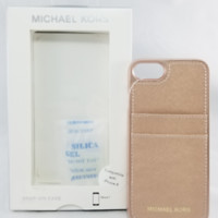 Michael Kors Saffiano Leather Pocket Case For iPhone 6 6S 7 8 - Rose Gold - NEW!