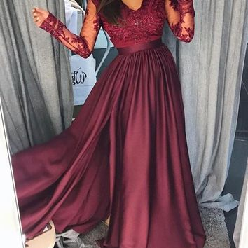 New Maroon Patchwork Lace Irregular Side Slit Banquet Prom Evening Wedding Party Maxi Dress