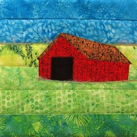 Small Mini Barn Art Quilt, Fabric Farm Wall Hanging, Rural Landscape Fiber Art