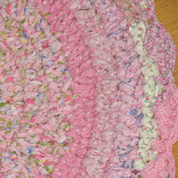 Shades of Pink Hand Crocheted Cotton Fabric Rag Rug with Scalloped Edge  FREE Shipping  in USA