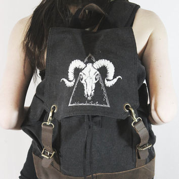 Black Ram Skull Backpack