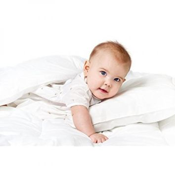 Baby & Toddler 100% Cotton Cover White Goose Down Alternative Comforter and Pillow Bundle Set, White Crib Baby Set, Baby Shower Gift Set