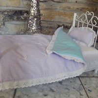 """Handmade Pink/Blue Check Doll Quilt and Pillow for 18"""" Soft Bodied dolls"""