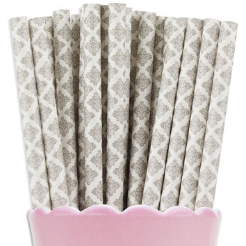 Gray Damask Paper Straws