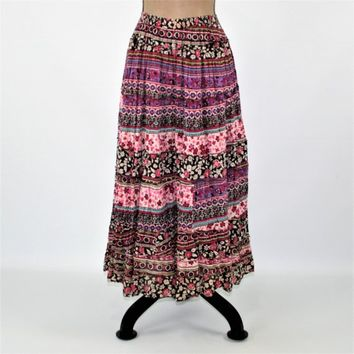 Boho Maxi Skirt Long Hippie Bohemian Peasant Skirt Full Cotton Skirt Women Medium Drawstring Purple  Print Floral Skirt Vintage Clothing