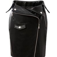 Black High Waist Foldover Asymmetric Zipper PU Pencil Skirt