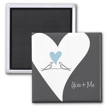 Personalized Cute White Doves in Love Fridge Magnets: Gift Idea for Her Birthday, Wedding Favors, or Valentine's Day