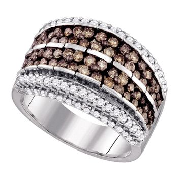 10kt White Gold Womens Round Cognac-brown Color Enhanced Diamond Striped Band Ring 1-5/8 Cttw