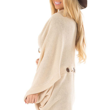 Taupe Cardigan with Button Details