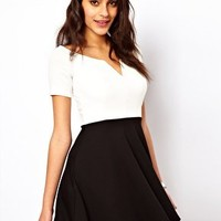 TFNC Skater Dress With V Neck at asos.com