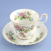 Vintage Tea Cup and Saucer, Royal Albert Moss Rose, English Bone China, Pink Roses Blue Flowers