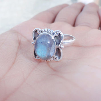 Natural Labradorite ring, silver labradorite Gemstone ring,sterling silver ring,women ring Jewelry, Blue stone ring, Labradorite silver ring