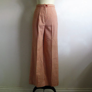 80s Check Bell Bottom Pants Vintage 1980s Orange Beige Wool Blend Pants Small-Med