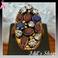 Authentic Turkish Ottoman Style Bronze Ring Encrusted With Ruby And Sapphire Stones. Ring Number Is 9 In US Size.