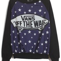 Sheinside Black Blue Long Sleeve Stars Skateboard Print Sweatshirt