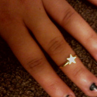 Bohemian Hippie Gold Star Mid Finger/ Knuckle Midi Ring