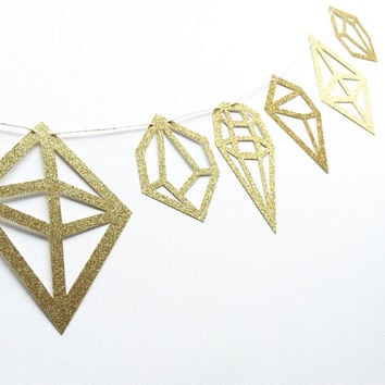 Gold Geometric Gemstone Banner - Gold Glitter Banner - Geometric Banner // Home Decor // Bridal Shower Decor