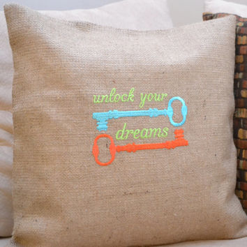 Unlock Your Dreams Cushion Cover - Pillow Cover - Just Because Gift - Housewarming Gift - Baby Shower Gift - Mother's Day Gift - Easter Gift
