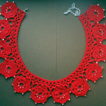 Flowers collar, Red knited detachable crochet collar decorated with sparkling crystals, ready to ship