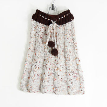 Hand Knitted Skirt - White with Brown