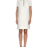 Fendi Jewel-Collar Gazar Polo Dress, White