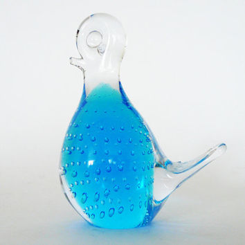 Swedish Blue Glass Bird - Controlled Bubbles Paperweight