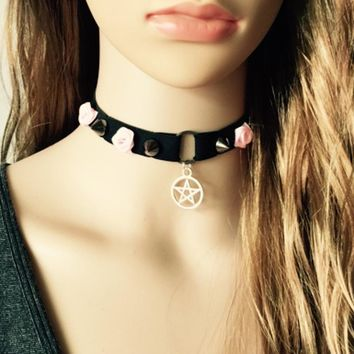 90's  Black the tensile elastic material Choker harness  women Gothic necklace harness Handmade With Charm Gothic Emo For Women