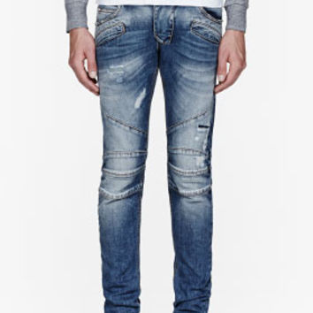 Pierre Balmain Blue Faded Super Skinny Biker Jeans for men | SSENSE