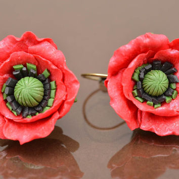 Handmade designer dangle earrings with polymer clay volume flowers red poppies