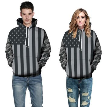 2016 Women Fashion Hoodie American Flag Sweatshirt Knitted Long Sleeve Pullovers For Women/Men Camouflage Mujer Harajuku Tops
