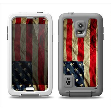 The Dark Wrinkled American Flag Samsung Galaxy S5 LifeProof Fre Case Skin Set