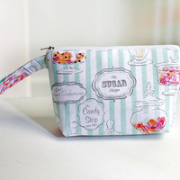 Zipper Pouch, multi use pouch, cosmetic case, sweet candy shop