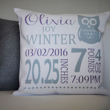 Ow; Themed Personalized birth pillow cover