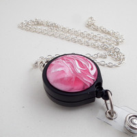 Pink and White Swirls Button Silver Plated Chain Badge Reel Lanyard with Black Badge Reel