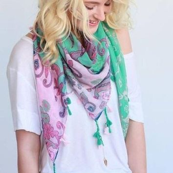 First Class Mint Paisley Scarf FINAL SALE!
