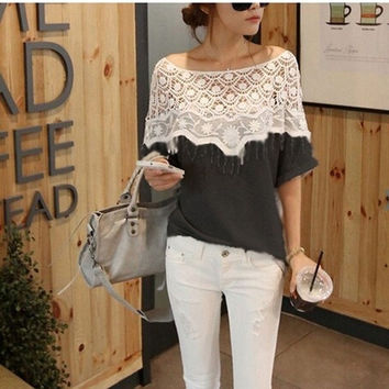 Women Sweet Hollow Out Off Shoulder Lace Loose Tee Women T-shirt Crochet Cape Collar Tops Blouse = 1958052228