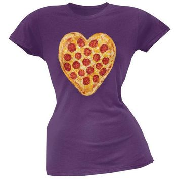 PEAPGQ9 Pepperoni Pizza Heart Purple Soft Juniors T-Shirt