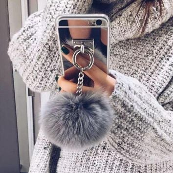 DCCKN6V Fur Ball Chain Mirror Protective Case for iPhone 6 6sPlus & iPhone 7 7 Plus
