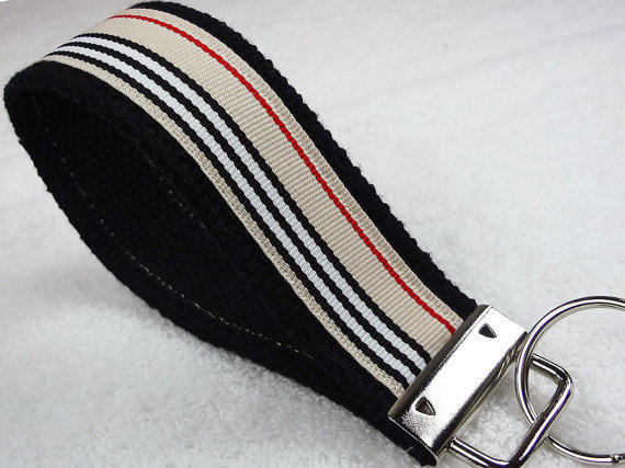 Keyfob Wristlet Keychain Key Ring Keylette - Keys Grosgrain Ribbon Webbing Burberry Stripes Stocking Stuffer - Porte-clés - Ready to ship